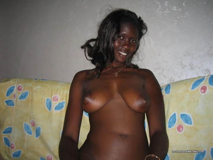Amateur ebony with huge natural boobs